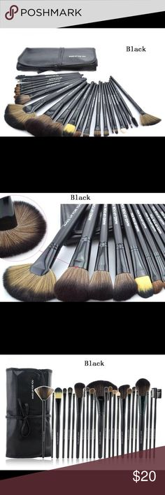 24pcs Makeup Brushes Set - Black. Brand New Total 24 brushes for facial makeup: Foundation Brush, Concealer Brush, Eyeshadow Brush, Eyebrow Brush, Blush Brush, Lip Brush, Mascara Brush... Adopts natural pure goat hair which provides superb ability to hold powerder, soft and pleasing for your skin. Gorgeous purple soft leather bag, easy to collect and carry brushes. An essential for not only professionals but also DIY users.  Specifications: Material:   Nylont  , aluminum, wood, and PU Bag…