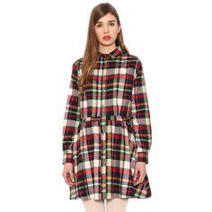 CHECKED tartan CHRISTMAS COLOURS lumberjack shirt dress by PEPA LOVES from LA LA LAND £45