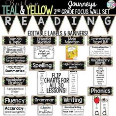 HUGE SET FOR JOURNEYS 2nd GRADE READING FOCUS WALL!! {BURLAP, TEAL, YELLOW, CHALKBOARD} READING FOCUS WALL PENNANT BANNER AND LABELS **NEW** PHONICS CARDS and 2nd GRADE WEEK AT A GLANCE NEWSLETTERS FOR ALL 30 LESSONS!! Just print and send home.
