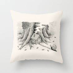 'A Visitor' (Grey) Throw Pillow by stareatthesky Grey Throw Pillows, Couch Pillows, Designer Throw Pillows, Down Pillows, Black And White Pillows, Pillow Design, Pillow Inserts, Moose Art, Illustration