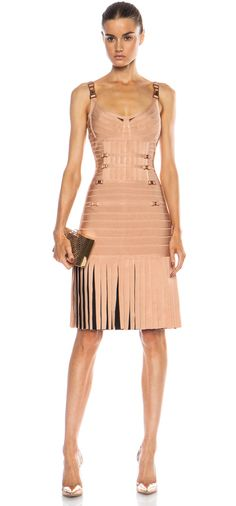 Herve Leger Milena Drop Waist Rayon-Blend Dress in Pink Champagne Combo