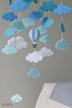 READY TO SHIP shades of blue cloud bank baby mobile-clouds mobile-hot air balloons clouds baby mobile-up in the sky-blues-up and up-blue – Care – Skin care , beauty ideas and skin care tips Baby Cot Mobiles, Baby Crib Mobile, Baby Cribs, Summer Crafts For Kids, Mothers Day Crafts For Kids, Balloon Clouds, Hot Air Balloon, Blue Balloons, Boy Shower