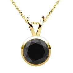 1.00 Karat schwarzer Diamantanhänger aus 14K Gelbgold schon für 999 Euro bei www.diamantring.be