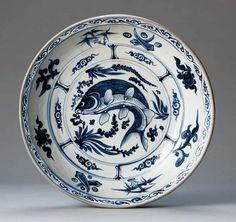 青花魚藻文皿(ベトナム・15~16世紀) 高78mm 口径382mm