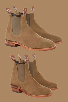 New Spring Summer 2020 arrivals from R.M. Williams. Stylish, handcrafted Chelsea boots for him and her, in eucalypt suede.  #rmwilliams #chelseaboots #robinsonsshoes Robin, Chelsea Boots, Spring Summer, Stylish, Men, Shoes, Fashion, Moda, Zapatos