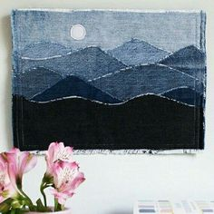 Ähnliche Artikel wie Blue Ridge Mountain Wall Art Mini Quilt Number 10 auf Etsy You are in the right place about patchwork quilting amish Here we offer you the most beautiful pictures about the patchw Patchwork Quilting, Rag Quilt, Jean Crafts, Denim Crafts, Denim Kunst, Blue Jean Quilts, Denim Art, Art Textile, Landscape Quilts