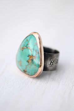 Ring  Nevada Fox Turquoise  Sterling Silver  Mixed by LaraLewis