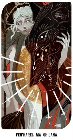 """Fen'Harel ma ghilana"" - Dya'hel Lavellan tarot card""Dread Wolf guides you."" Indicates someone being mislead, in this case it's my poor Dya'hel… Art And Illustration, Fantasy Kunst, Fantasy Art, Dragon Age Tarot Cards, Dragon Age Inquisition, Wow Art, Pretty Art, Dark Art, Art Inspo"
