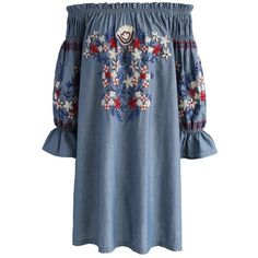 Chicwish Embroidery for Romance Off-shoulder Denim Dress ($62) ❤ liked on Polyvore featuring dresses, blue, rose dress, blue dress, blue denim dress, broderie dress and rosette dress