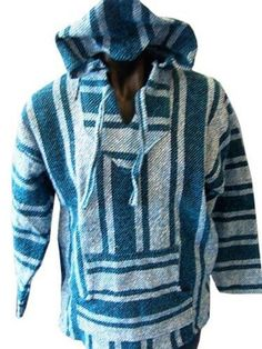 Turquoise Woven Mexican Baja Hoodie Jerga Unisex (Large) PennyLine  http   www bb3c3e415