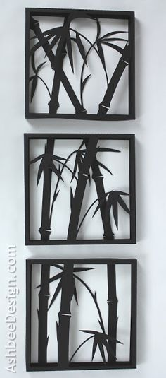 Ashbee Design Silhouette Projects D Bamboo Shadow Box Silhouette Tutorial Ashbee Design Silhouette Projects: 3 D Bamboo Shadow Box Kirigami, A-level Kunst, Shadow Box, Metal Art, Wood Art, Paper Art, Paper Crafts, Cut Canvas, Scroll Saw Patterns