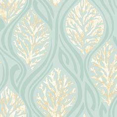 papel tapiz corales turquesa 0.68 cm de ancho