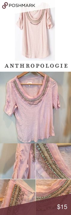 Anthropologie Deletta Pink Jewel 💎 Neckline Top Anthropologie Deletta Pink Jewel 💎 Neckline Top. 18 inch bust. 25.5 inches long. Missing about 4 jewels on Neckline. Gently worn. Otherwise great condition. Feel free to make an offer or bundle & save! Anthropologie Tops Blouses