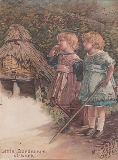 McLaughlins XXXX Coffee Little Gardeners at Work Victorian Trade Card 1890s