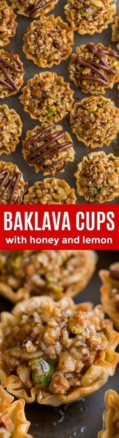 Mini Baklava Cups - taste like authentic baklava but easier! The honey and lemon syrup make these baklava cups completely irresistible! : natashaskitchen A make-ahead recipe sponsored by Valentine Desserts, Mini Desserts, Dessert Recipes, Make Ahead Desserts, Christmas Desserts, Lemon Syrup, Honey Lemon, Low Carb Cheesecake, Cannoli