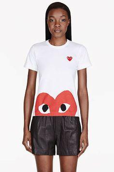 Comme des Garcons PLAY White Red peek-a-boo Emblem T-Shirt on shopstyle.com