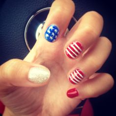 Usa nails red white and blue 4th of july
