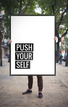 """Printable Art Quote Poster """"Push Yourself"""", Motivational Wall Art Typography, Inspirational Workout Quote Digital Download DIY PRINT"""