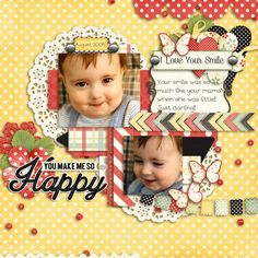I loved Micah's cute little sparkly brown eyes when he smiled!  His smile reminded me so much of his mama when she was little!  Such a sweet boy!!  I used a kit from Ooh La La called You make me happy which is found here: http://store.gingerscraps.net/You-Make-Me-Happy-Digital-Scrapbooking-Kit.html And a template from Dagi's Temptations Love You More pack found here:  http://store.gingerscraps.net/Love-You-More.html