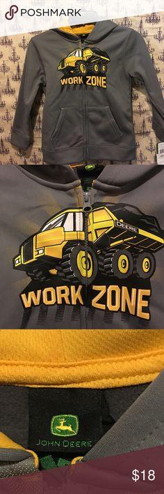 John Deere kids hoodie. Easter idea WORK ZONE  John Deere grey hoodie with big truck in front. Lined in yellow John Deere Shirts & Tops Sweatshirts & Hoodies