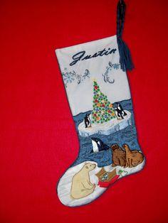 Crewel Embroidery Christmas Stocking Kit - A Polar Christmas