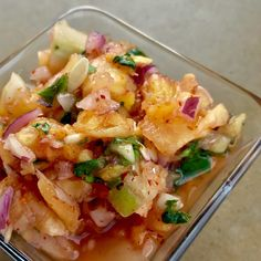 Here's a lovely no cook salsa that you can have over any grilled fish, shrimp or scallops that you make, or just eat it on tacos filled with Pork Carnitas. You can vary the proportions of cucumber and pineapple for this, to keep the carb content down. I made it with equal amounts of pineapple and cucumber as a