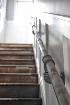 "Boat railing instead?old pipe handrail.piping as handrail.pipes as railing.Pipe for a railing"" Pipe Railing, Staircase Railings, Banisters, Staircase Design, Hand Railing, Spiral Staircases, Railing Design, Metal Handrails For Stairs, Tiled Staircase"