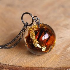 Resin Necklace with Dark Amber and Gold Flakes Christmas Gift