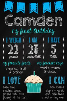 Boy's Birthday Chalkboard Poster // First Birthday Digital Chalkboard Baby Boy First Birthday, Boy Birthday Parties, Birthday Fun, Birthday Ideas, 1st Birthday Chalkboard, Birthday Board, Winter Onederland, First Birthdays, Birthday Interview