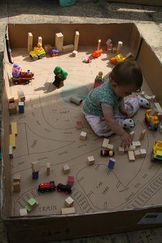 Cardboard box play space
