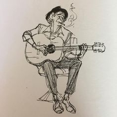 Guitarist - Original Pen & Ink Sketch - Archivally Matted and Mounted for Standard Frame - - Drawing Sketches, Pencil Drawings, Art Drawings, Drawing Ideas, Guitar Drawing, Guitar Art, Keith Richards, Musik Illustration, Music Artwork
