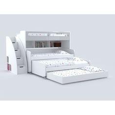Brayden Studio Gautreau Twin Triple Bunk Bed with Trundle Bunk Beds With Drawers, Bunk Bed With Trundle, Bunk Beds With Stairs, Twin Bunk Beds, Kids Bunk Beds, Murphy Bunk Beds, Modern Bunk Beds, Cool Bunk Beds, Bunk Bed Rooms
