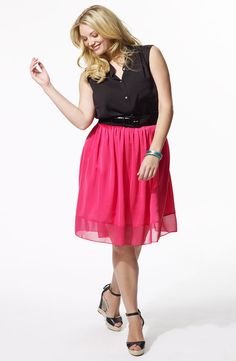 Chiffon Skirt.  Available in Pink or Black. Sizes 14-24W
