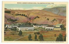 Mammoth Springs Hotel Yellowstone National Park WY Linen Vintage Postcard