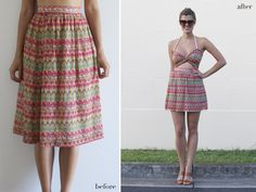 Before & After: Printed cut out Dress