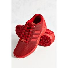 adidas Mono ZX Flux Sneaker ($90) ❤ liked on Polyvore featuring shoes, sneakers, red sneakers, adidas sneakers, adidas, red trainers and adidas trainers