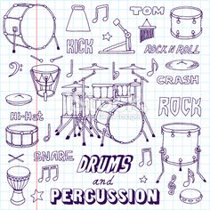 Drums and Percussion. Easy Cartoon Drawings, Easy Drawings, Drums Cartoon, Homemade Drum, Hand Drum, Pumpkin Stencil, Music Pictures, Free Vector Art, Doodle Art