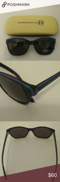 Humphreys Women's Sunglasses Humphreys Women's Sunglasses,  with spring hinges, purple with blue stripping. Includes hard case. Humphrey's Accessories Sunglasses