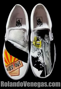 Led Zeppelin Theme  Each pair is originally designed using acrylic paints to create an original piece of art you can wear! If you have any feedback or you're interested in placing an order or have any questions at all, feel free to send whatever it may be my way through email at R84Venegas@yahoo.com or sending a message through a social media site. Thanks for your time! Hope you enjoy!