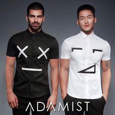 Left or Right? -- Dress to express with #ADAMIST Emoji Shirts, as worn by #NyleDimarco & #JustinKim of #AmericasNextTopModel 'Lennox' and 'Leslie' shirts available in-store and online.