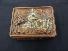 Vintage Resin Washington DC Souvenir Box US Capital White House Travel Wood WOW