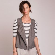 40% OFF WINTER SALE Gray Vest, Women Vest, Biker Vest, Zippered Vest