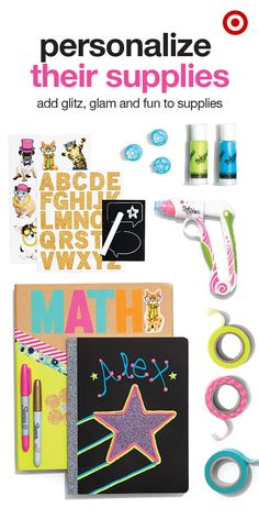 School supplies is fun, but so is making it special. Use glue, stickers, tape and gems to personalize notebooks, folders, pencil cases and more. Get your doodle on or scribble your name so no one mixes up their back to school supplies with yours.