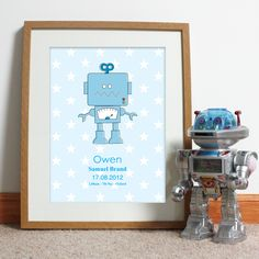 Bespoke #gift ideas: personalised #robot #poster design