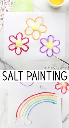 Salt Painting - choose from a rainbow, flower, butterfly or sun template. An easy craft for kids! diy crafts for kids videos Salt Painting Arts And Crafts For Kids Toddlers, Craft Activities For Kids, Preschool Crafts, Kids Diy, Daycare Crafts, Craft Ideas, Summer Crafts For Preschoolers, Crafts For Babies, Kids Craft Projects