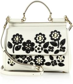 79465104319 Dolce   Gabbana   Black Sicily Medium Floral Cameo Textured Leather  Top-handle Satchel  . Lyst
