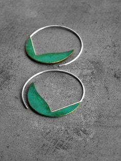Verdigris Curvy Hoops brass earrings sterling silver by alibli