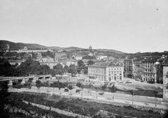 Bilbao 1875, the Arenal, bridge Isabel II and the theater before the theater Arriaga.
