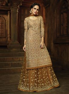 Beige color heavy Embroidered Gorgeous Indian Look Traditional Occasionally Fashion Net Fabric Pant & Lehenga Style Suit For Mother Designer Salwar Kameez, Designer Anarkali, Pakistani Dresses, Indian Dresses, Indian Outfits, Latest Wedding Suits, Long Choli Lehenga, Kids Lehenga, Net Lehenga