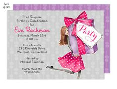 Pretty Party Box (Brunette) Invitation | BonnieMarcus.com #birthday